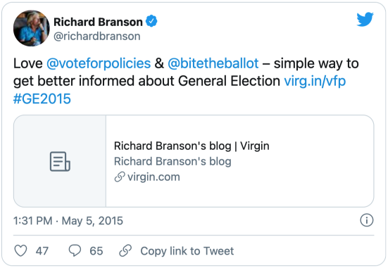 A tweet from Richard Branson (@richardbranson): Love @voteforpolicies @bitetheballot – simple way to get better informed about General Election